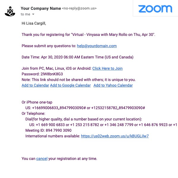 MINDBODY Classes with Zoom meeting